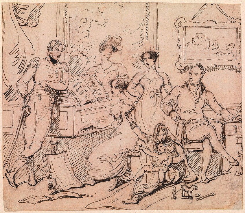 Chinnery, George, <em>A Family Group around a Piano.</em>
