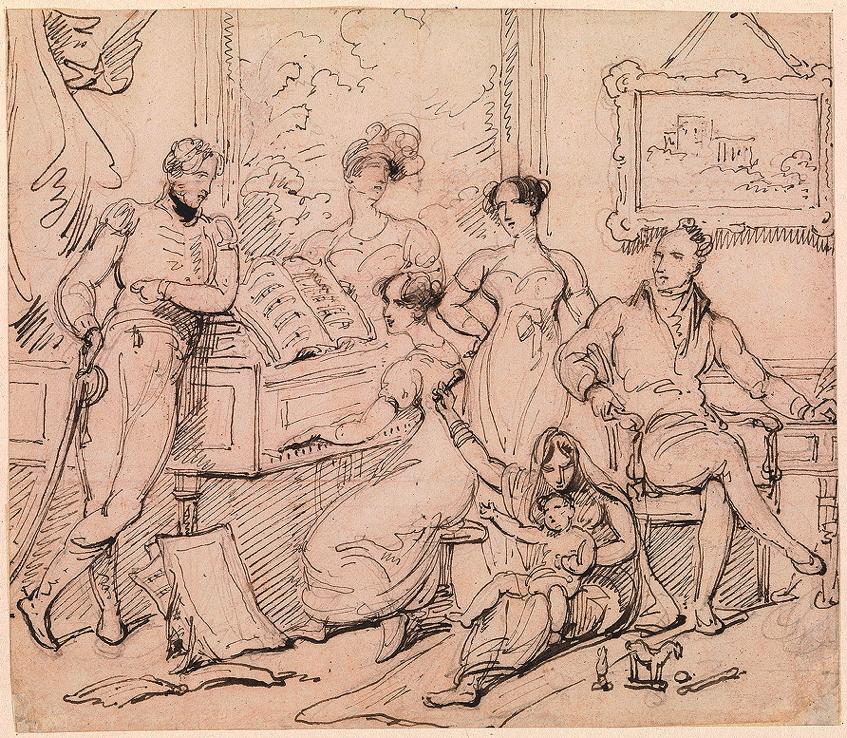 Chinnery, George, <em>A Family Group around a Piano.</em>