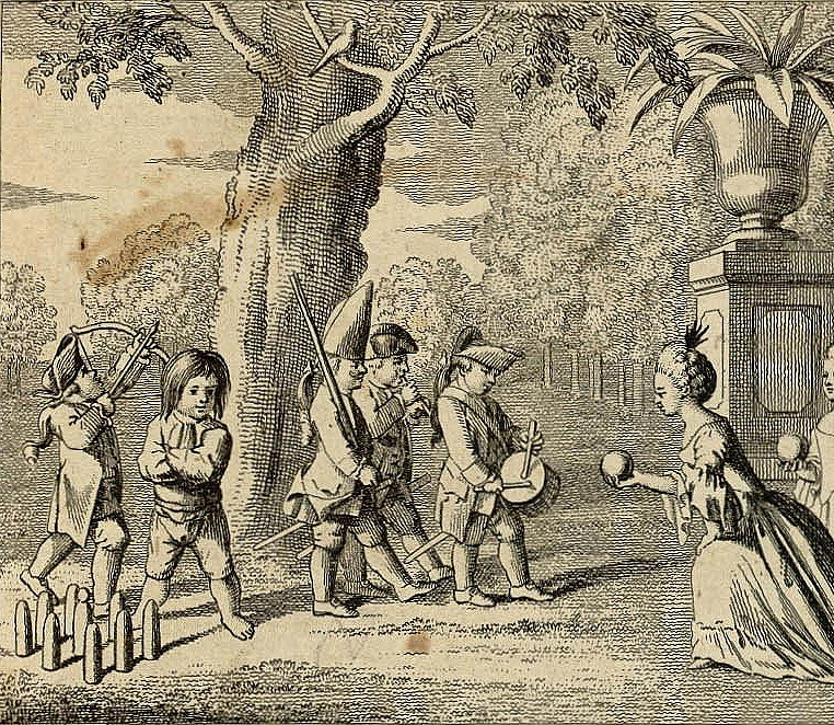 "Chodowiecki, Daniel, ""Amusements of Children: Soldier Games, Archery, Skittles, and Bouncing Balls."" Engraving from Basedow, <em>Das Elementarwerk.</em>"