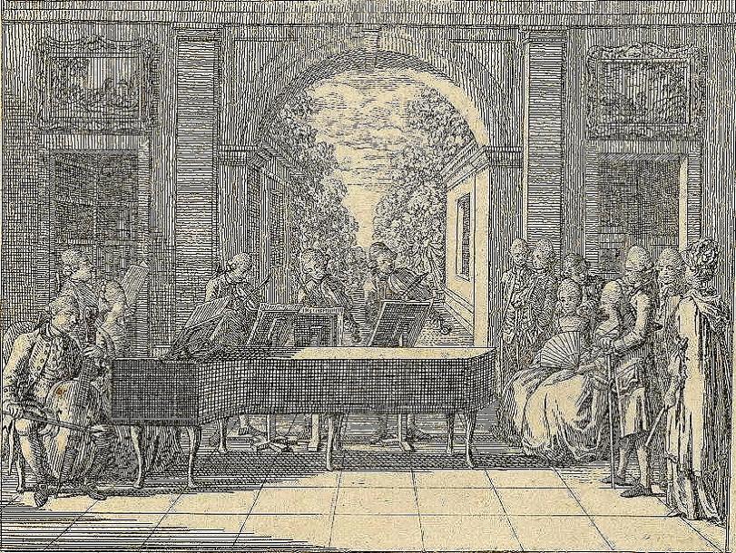 """Chodowiecki, Daniel, """"House Concert."""" Engraving from Basedow, <em>Das Elementarwerk für die Jugend und ihre Freunde.</em>"""