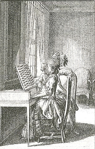 "Chodowiecki, Daniel. ""Music,"" from <em>Occupation des dames</em>. Engraving from <em>Almanac de Berlin.</em>"