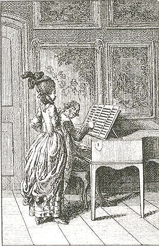 "Chodowiecki, Daniel. ""Singing,"" from <em>Occupation des dames</em>. Engraving from <em>Almanac de Berlin</em>."