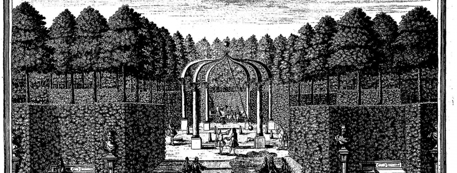 """Corvinius, Johann August, """"Skittles [<em>Kögelspiehl</em>] Boscage, Nymphenburg Palace, Munich."""" Engraving from Diesel, <em>Erlustierende Augenweide in Vorstellung herrlicher Garten</em>"""