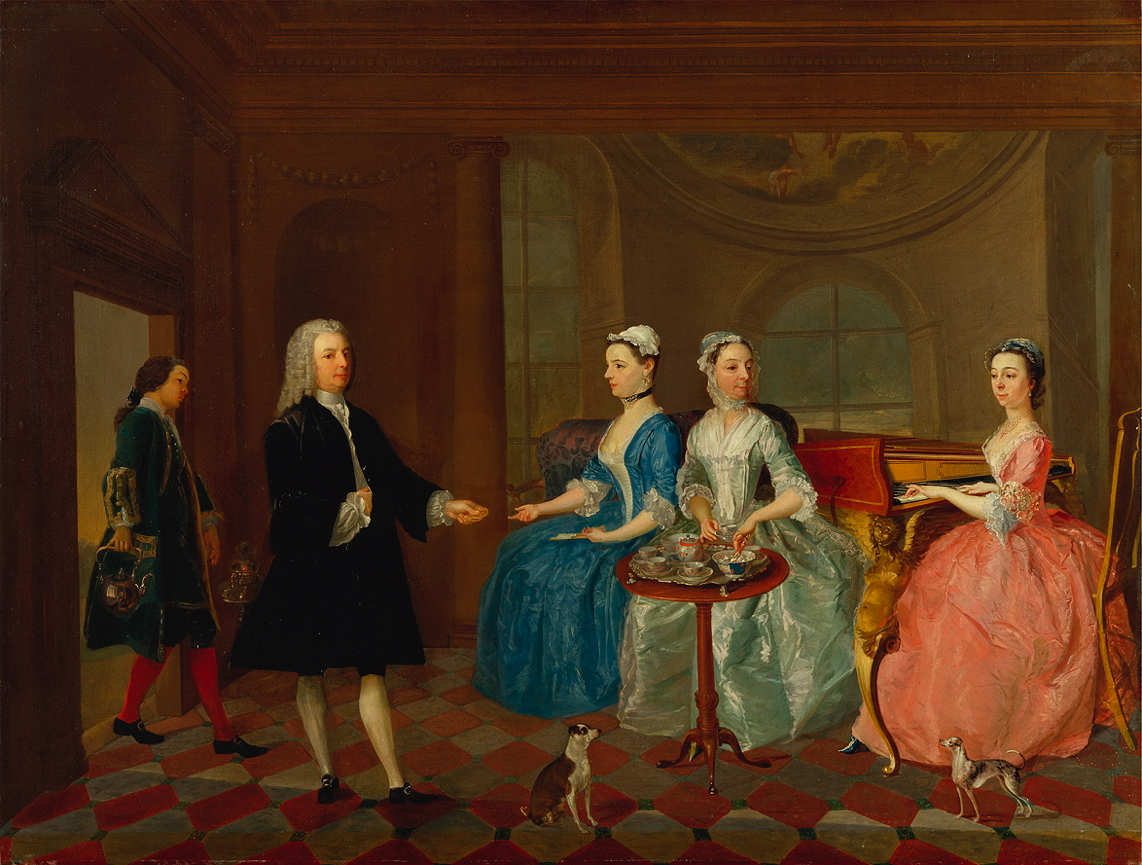 Unknown artist, <em>A Family Being Served with Tea</em>.