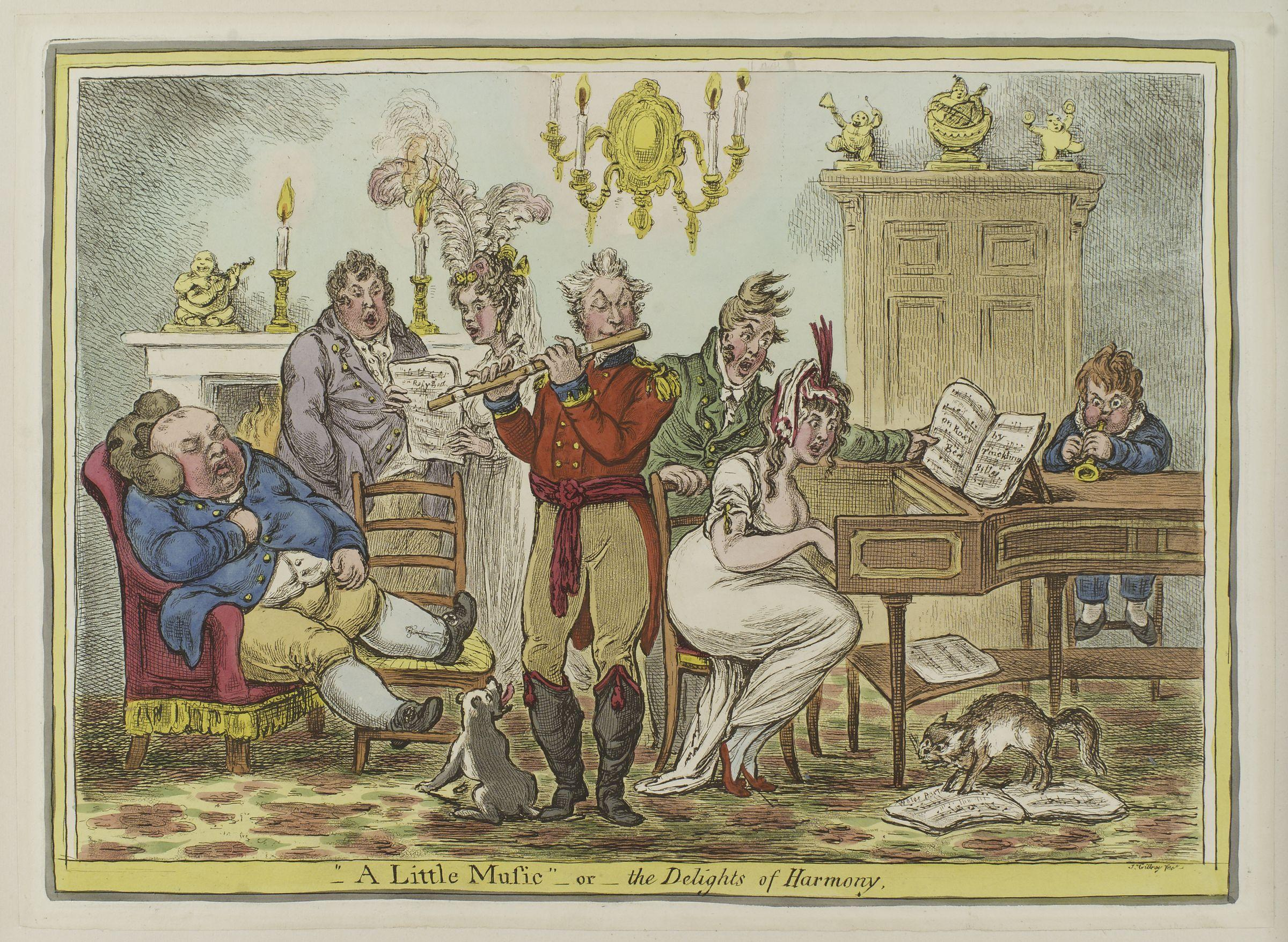 Gillray, James, <em>A Little Music</em>; or, <em>The Delights of Harmony.</em>
