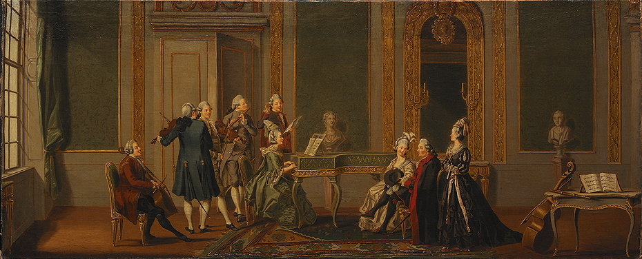 Hilleström, Pehr, <em>Gustavian Interior with a Musical Party.</em>