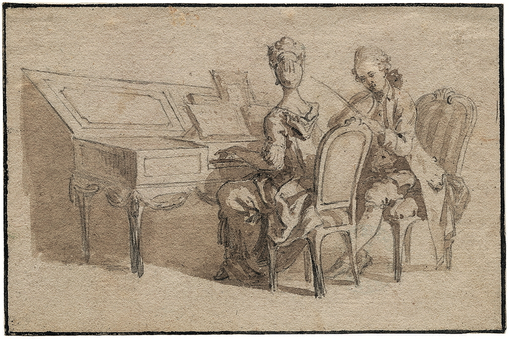 Mechau, Jacob Wilhelm, <em>Young Woman at the Spinet, Accompanied by a Gentleman on Violin.</em>