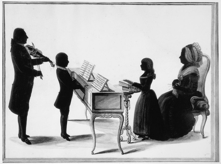 Rousseau, Jakob, <em>Silhouette Portrait of the Family of Burchard Johann von Deneken von Nienlande and Jeanne Esther du Peyrou.</em>