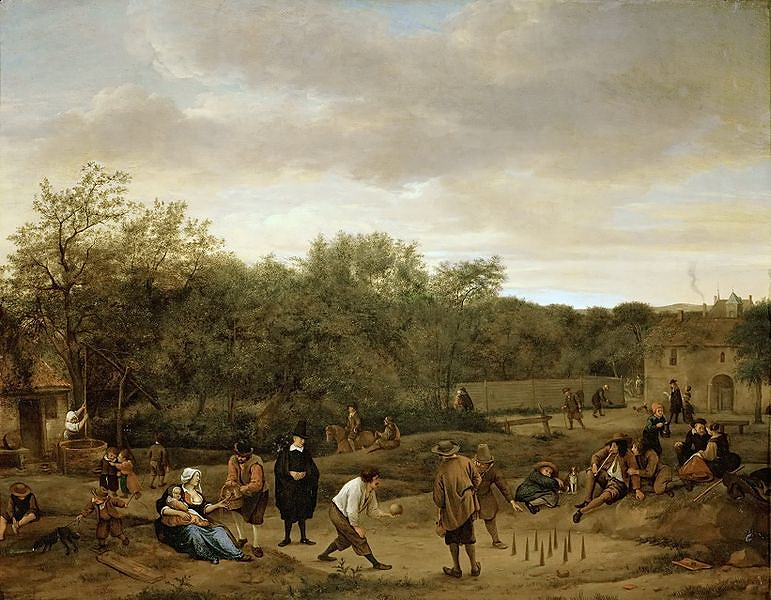Steen, Jan, <em>Peasants Playing Skittles.</em>