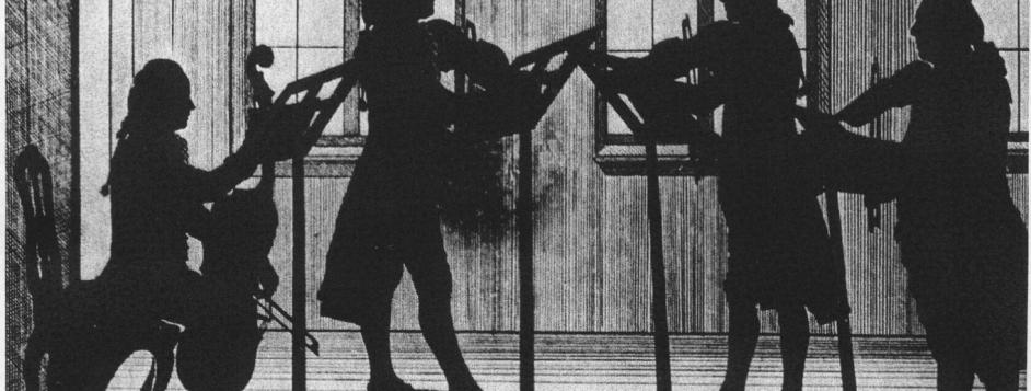 Widnmann, Joseph, <em>Silhouette of Wallerstein Court Musicians Playing a String Quartet.</em>