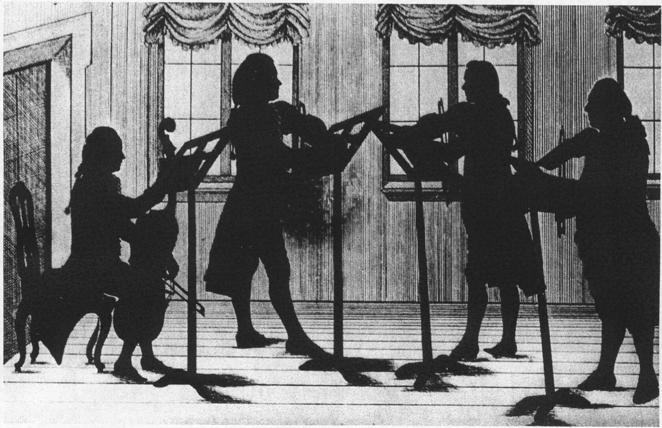 Widnmann, Joseph, <em>Silhouette of Wallerstein Court Musicians Playing a String Quartet.</em>
