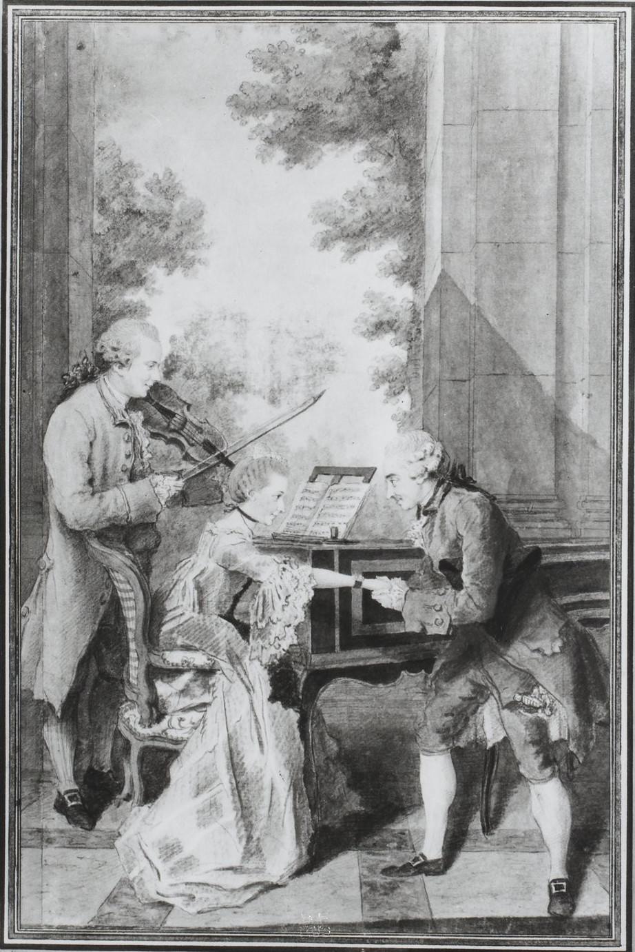 Carmontelle, Louis Carrogis, <em>Mademoiselle Delou de Genève, M. Philippe Y et M. Y. Textier</em>.